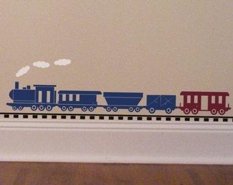 Train Wall Decal - Baby Boy Wall Decal - Locomotive Decor - Choo Choo Train Decal - Train Track Vinyl Decal - Playroom Wall Decal