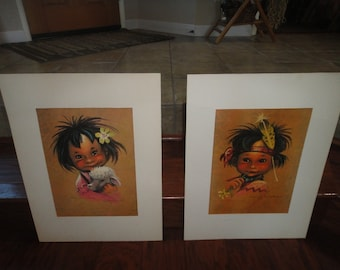Monteague Flagg lithograph pair Miss Sunshine & Johnny Jack Rabbit