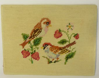 Needlepoint Colorful Birds With Strawberries