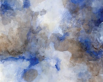 """ORIGINAL Abstract Painting on canvas 16x20, Abstract canvas art, blue brown white """"Highlandia 4"""""""