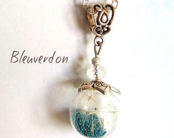 Bubble necklace with dandelions and micro beads