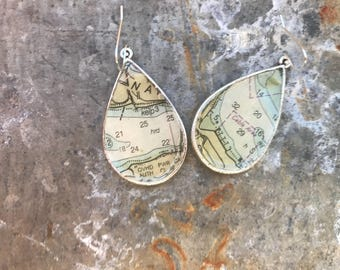 Silver Vintage Nautical Chart Map Teardrop Dangle Earrings