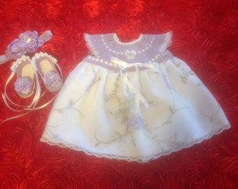 Newborn Baby Girl Dress Set - Lilac & White