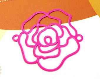 1 connector Metal filigreed pink flower - 34 mm