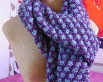 """""""Seashells"""" sky blue and purple scarves"""