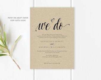 We Do Wedding Invitation Template | Rustic Wedding | We Do Invite Template | PDF Editable Template | We Do Invitation | Instant Download