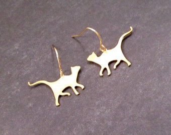 CAT Earrings, Gold Kitties, Dangle Earrings, FREE Shipping, U.S.