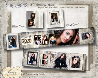 3x3 Accordion Album template for photographers - Blue Jeans Senior Accordion Album