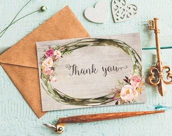 Thank you card Printable thank you card Floral thank you card Rustic floral card Bohemian thank you card Peony thank you Boho thank you