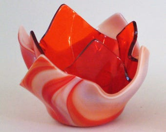 Orange & White Fused Glass Double Votive