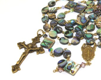 Natural NZ Paua Shell (Abalone) & Bronze Man's Rosary Beads, Our Lady of Grace Center