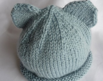 Pure Wool Blue Baby Hat  -  B108