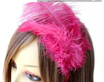 Candy Pink Ostrich feather fascinator (5 fastener, 5 color option) Ameline headband,mardi gras,kentucky derby,carnivale,vegas bachelorette