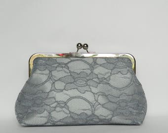 Grey Lace Clutch, Grey and Coral Clutch, Bridal Clutch, Wedding Clutch, Grey Clutch, Bridesmaid Clutch, Bridesmaids Gift, Evening Clutch
