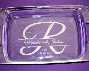 Personalized Wedding Baking Dish With Lid, Custom Engraved Casserole Baking Dish, Great Anniversary or Housewarming Gift - #1