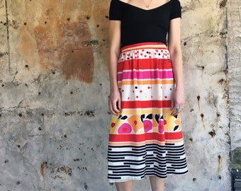 Matisse Inspired 1960s Bright Abstract Print Cotton Midi Skirt M