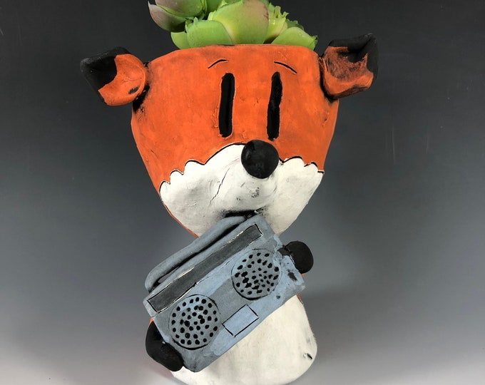 Say Anything Fox // Your Favorite 80's Movie // Orange Fox // Succulent Pot // Planter // Ceramic // Small Sculpture // Boombox // Cute