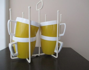 Vintage Insulated Yellow Mugs/Cups WithTree Rack/Caddy