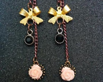 Gold Bow Pink Rose Earrings