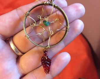 Wire wrapped dream catcher pendant