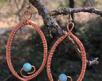 Turquoise earrings, copper earrings, wire wrap turqiouse, woven copper