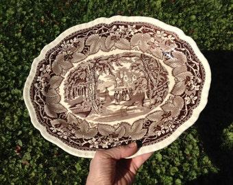 "Antique Mason's Patent Ironstone Platter, Vista Brown, 14"""