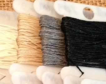 2 ply 5 - 20 yards Waxed Irish Linen Crawford Cord WHITE NATURAL GREY Black jewelry string book binding