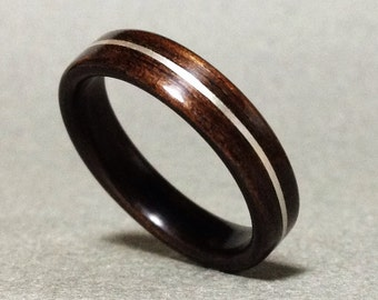 Ebony Ring, Bentwood Ring Ebony with Silver Inlay