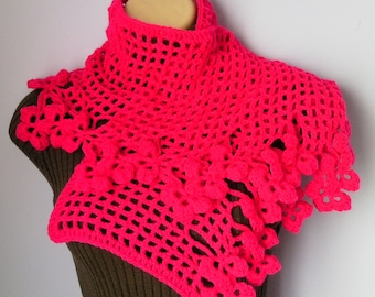 Crochet Shawl, Scarf , Neckwarmer women crimson scarf, шарф, sjaal, bufanda, cachecol, sciarpa, Schal, foulard, echarpe