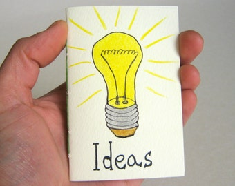 Ideas art notebook for your inspired thought- Light bulb hand-drawn notebook with soft covers and 60 pages by ExiArts - 100% recycled pages