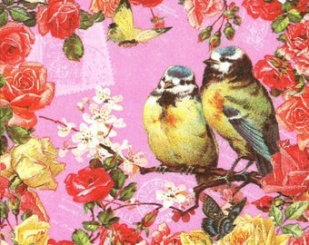 Bird vintage couple 2 paper napkins 25 x 25 (344)