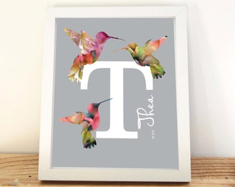 Nursery Letter Art, Girls Prints, Hummingbird Print, Initial Print, Floral Letter, Nursery Wall Art, Monogram,