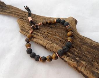 Tigers Eye and Lava Stone Bracelet, Wrist Mala, Yoga Bracelet, Boho Bracelet, Stack Bracelet, ColeTaylorDesigns