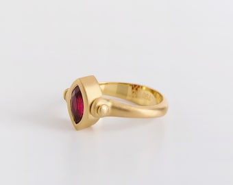 Rolling Ring with Ruby Marquise & Tiny Rubies, Two Faces Ring, Women's Statement Ring, 18k Gold Ring Ruby Marquise Ring Two Sides