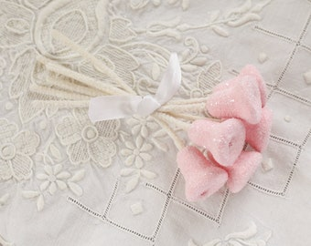 Sugar Bells - Pink Spun Cotton Retro Craft Stems with Glass Glitter - 6 Bell Embellishments