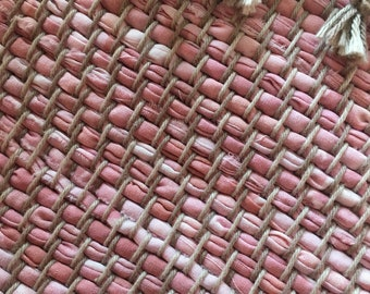 "Hand Woven Rag Rug - Dusty Rose Twill 26"" x 35"""