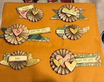 flower and heart embellishments (6)