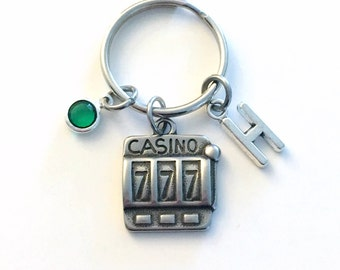 Casino Slot Machine KeyChain, Gift for Gambler's Keyring, Good luck Key chain Initial present women Las Vegas Girl Stag Her stagette him men