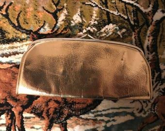 Set of 2 Vintage Purses. Metallic Gold Clutch. White Clutch. Bag. Handbag.