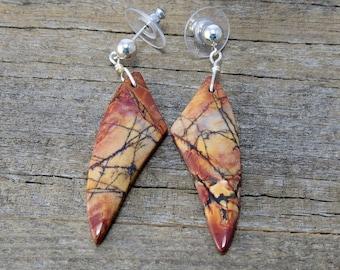 Red Creek Jasper Dangle Earrings, Silver Post Dangle Earrings, Boho Earrings