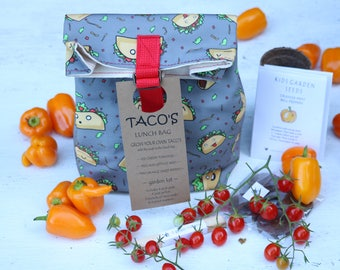 Kids lunch bag, Canvas lunch bag, taco fabric, kids lunchbox, garden kit for kids, vegetable seeds to grow your own tacos, made in the USA