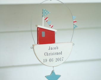 Fishing Boat Room Sign, Christening Gift, Personalised Gift, New Baby Gift, Nursery Wall Art, Nautical Door Sign, Baptism Gift,