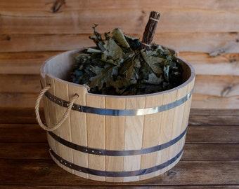 Heavy 5-20 L Oak Water Tub, Wooden Bucket, Farmhouse Waterware, Oak Trough