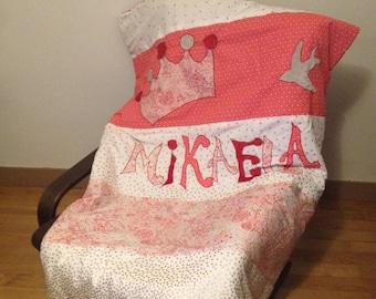 Doubled blanket with Princess theme - fur minkee - handmade