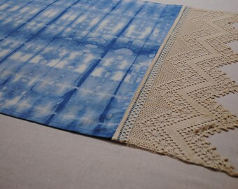 Indigo Shibori with Vintage Lace