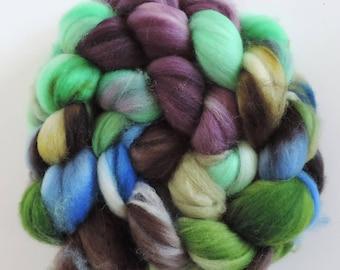 merino nylon,Willow and Hazel, top, superwash Sock Blend, handpainted fiber for spinning, ,ca.3,5oz