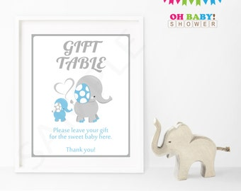 Blue Elephant Baby Shower Decorations, Baby Shower Sign, Gift Table Sign, Blue and Gray, Instant Download, 8x10 Printable, Sign, Boy, ELLBG
