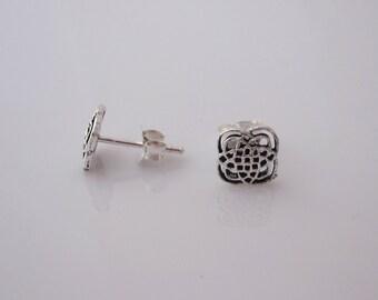 Celtic knot flower sterling silver stud earrings