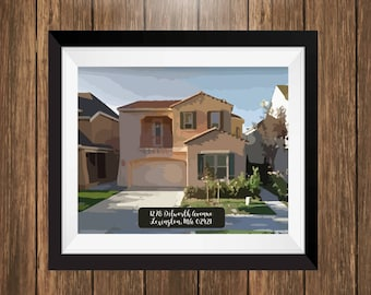 Housewarming Gift, Personalized house artwork