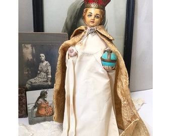 Large antique Infant of Prague chalkware statue with vestments | robe | painted Catholic statue | alter